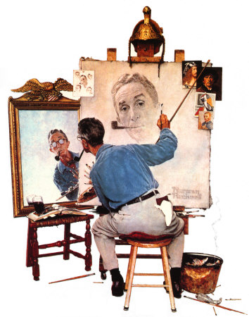 norman-rockwell-triple-self-portrait-posters_7833