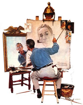 norman-rockwell-triple-self-portrait-posters_7833